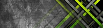 Naklejka Tech green stripes on abstract grey grunge corporate header banner. Vector geometric background
