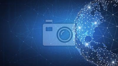 Naklejka Technologia blockchain futurystyczny hud tło z kuli ziemskiej i wielokąta blockchain peer to peer sieci. Globalna koncepcja biznesowa blockchain kryptowaluty biznesu.