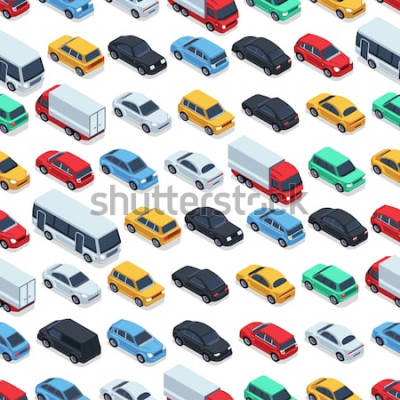 Naklejka Tekstura samochodów miejskich. Tło wektor. Samochody izometryczne. Bezszwowa deseniowa koloru samochodu ilustracja