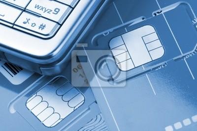 Naklejka Telefon komórkowy z kart SIM