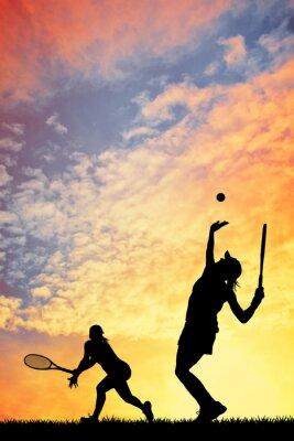 Naklejka Tenis na zachodzie słońca