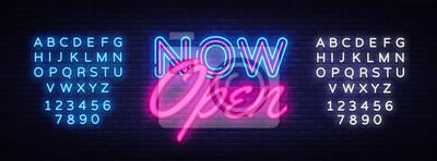 Naklejka Teraz szablon projektu neon tekst otwarty wektor. Teraz otwórz neonowe logo, lekki element projektu kolorowego trendu nowoczesnego designu, nocna jasna reklama, jasny znak. Wektor. Edycja tekstu neonu