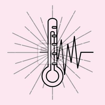 termometr rytm serca zaopatrzenia medycznego opieki zdrowotnej vintage plakat ilustracji wektorowych