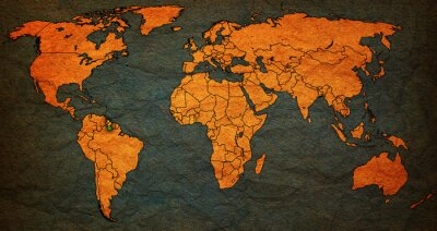 Naklejka terytorium Gujany na mapie świata