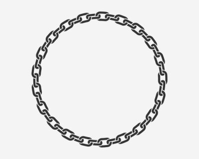 Naklejka Texture chain round frame. Circle border chains silhouette black and white isolated on background. Chainlet design element.