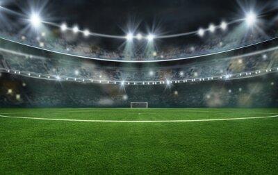 Naklejka textured soccer game field with neon fog - center, midfield, 3D Illustration