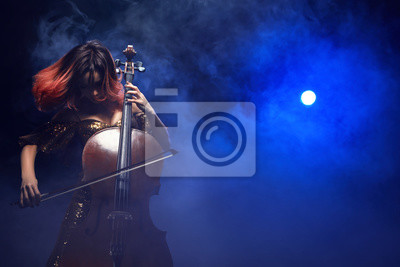 Naklejka The cellist girl performs on stage.