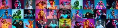 Naklejka The collage of surprised people