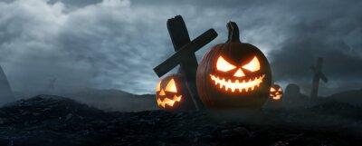 Naklejka The dark night Halloween, Jack O Lantern on graveyard. 3d rendering