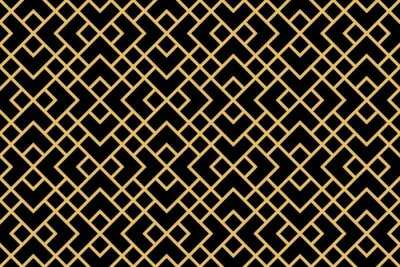 Naklejka The geometric pattern with lines. Seamless vector background. Gold and black texture. Graphic modern pattern. Simple lattice graphic design