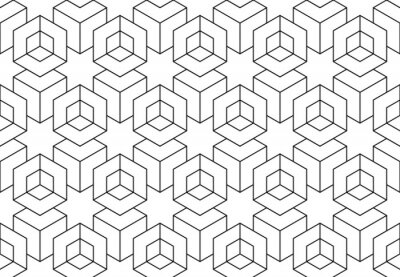 Naklejka The geometric pattern with lines. Seamless vector background. White and black texture. Graphic modern pattern. Simple lattice graphic design