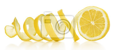 Naklejka The lemon skin is twisted in a spiral with reflection on an isolated white background