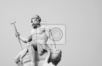 Naklejka The mighty god of the sea and oceans Neptune (Poseidon) The ancient statue. Black and white image.