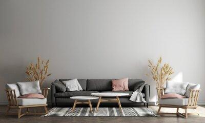 Naklejka The minimal living room interior with tea table, plants and decor, Blue wall background. 3d render illustration mock up