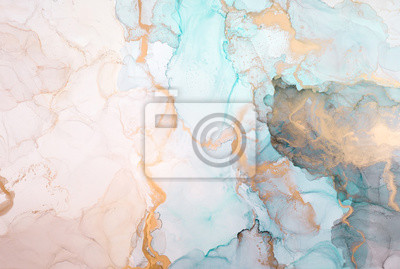 Naklejka The picture is painted in alcohol ink. Creative abstract artwork made with translucent ink colors. Trendy wallpaper. Abstract painting, can be used as a background for wallpapers, posters, websites.