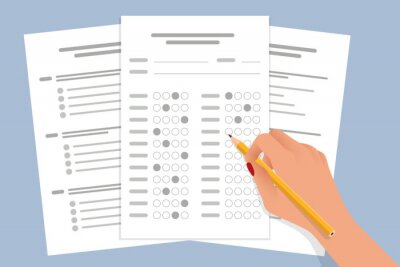 Naklejka The student filling out answers to exam test answer sheet with a pencil. School and Education. Test score sheet with answers
