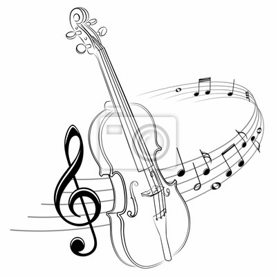 Naklejka The stylized symbol with music notes and violin.