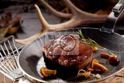 Naklejka Thick juicy grilled wild venison steak