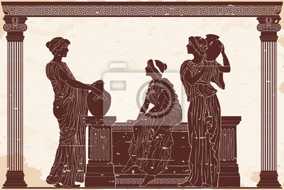 Naklejka Three ancient Greek women are talking near the parapet with jugs. Antique fresco on a beige background with an aging effect.