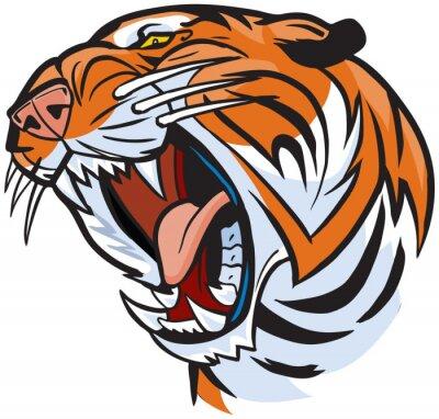 Naklejka Tiger Head Roaring Ilustracja Cartoon