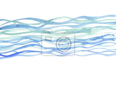 Naklejka tle rzeki. morze Akwarele ilustracji. niebieska woda ręcznie d