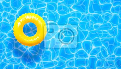 Naklejka Tło basen wody lato z pierścieniem pływaka żółty basen. Lato niebieski aqua teksturowanej tło