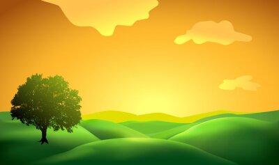 Naklejka tło krajobraz z drzewa sylwetka