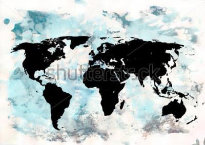 Naklejka Tło mapy świata. Grunge tła. Abstrakcyjna sztuka emocjonalna. Nowoczesny element projektu.