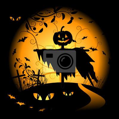Naklejka Tło noc Halloween