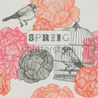 Naklejka Tło wiosna. Ptaki i klatki. Obejmuje wzór