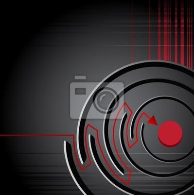 Tło z labiryntu z czerwoną strzałką, sukces