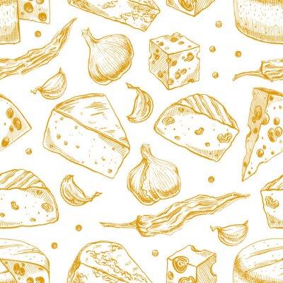 Naklejka tło z serów żółtych i przypraw