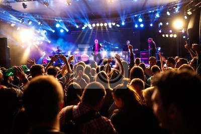 Naklejka Tłum młodych ludzi na koncercie