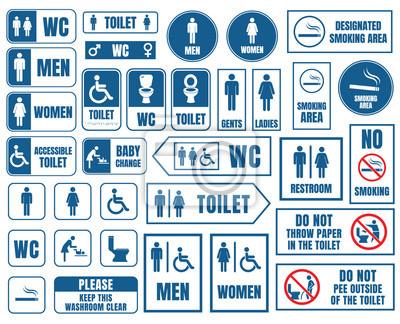 Naklejka toalety oznaki, WC zestaw ikon, znaki wc