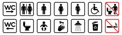 Naklejka Toilet icons set, WC signs, toilet signs, bathroom symbol, vector illustration