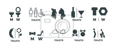 Naklejka Toilet signs. He she WC door symbols, man and woman bathroom direction signs. Vector funny icons of restroom pictogram set