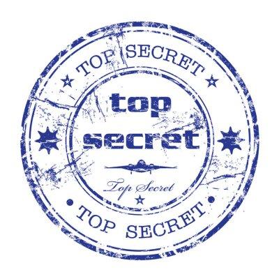 Naklejka Top secret pieczątka