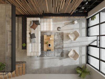 Naklejka Top view minimalist Interior of modern living room 3D rendering