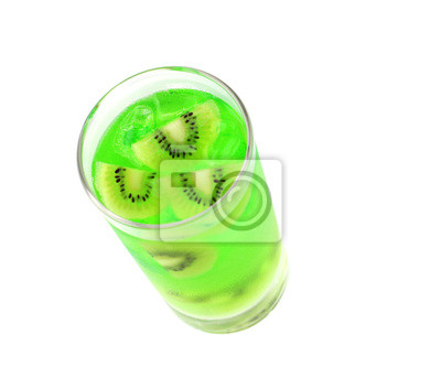 Naklejka Top view of a glass of kiwi juice isolated on white background