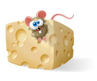 Naklejka topo con il formaggio