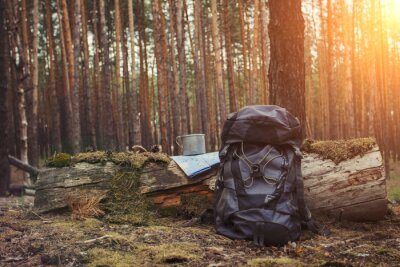 Naklejka Tourist backpack, metal mug and map in the forest. Concept of a hiking trip to the forest or mountains