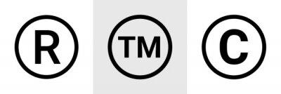 Naklejka Trademark copyright symbol logo. Trade mark sign circle intellectual legal property register icon