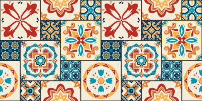 Naklejka Traditional ornate portuguese decorative tiles azulejos.