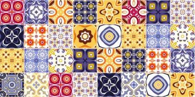 Naklejka Traditional ornate portuguese decorative tiles azulejos. vector