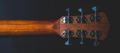Naklejka traditional wooden folk guitar, music art acoustic music instrument, part of classic folk guitar
