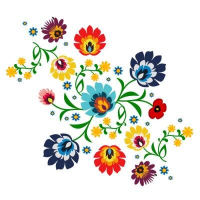 Naklejka Tradycyjny polski folk wektor wzór kwiatowy