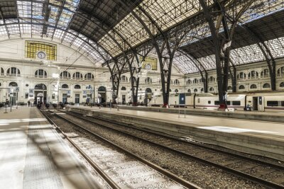 Naklejka Train Station in Barcelona
