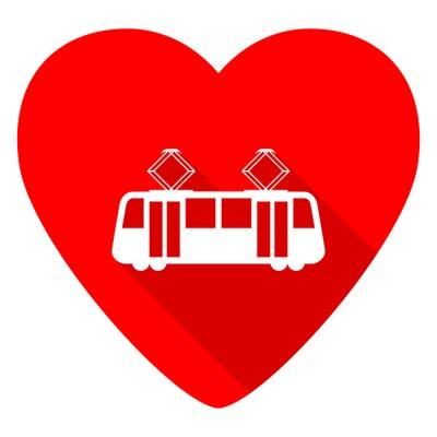 Naklejka Tramwaj czerwone serce Valentine płaskim ikona