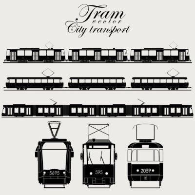 Naklejka Tramwaj Transportu Miejskiego wektorowe