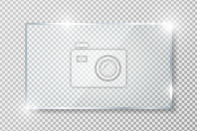 Naklejka Transparent glass banner with reflection isolated on transparent background. Blank gloss glass plate. Realistic rectangle glass frame. Square 3d shiny display mockup. Window design. Vector